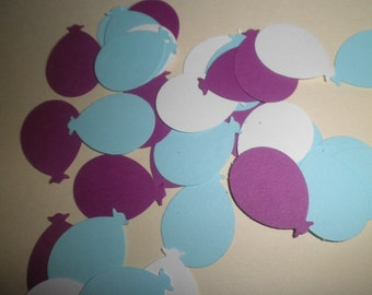 """100 blue,purple & white color martha stewart balloons confetti punched die cuts 1"""" -perfect for scrapbooking, cards, showers, embellishments"""