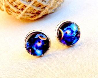 Galaxy earrings, Galaxy stud earrings, Blue galaxy studs, Galaxy jewelry, Nebula earrings, Space jewelry, Universe, Blue stud earrings