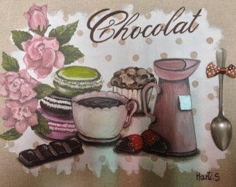hand-painted on linen chocolate