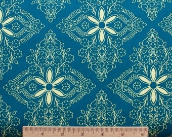Design Loft freespirit fabric Garden Patio PWFS015 Bayou blue teal turquoise flowers floral sewing quilting 100% cotton fabric by the yard