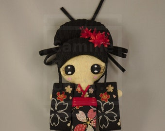 Doll / Kawaii / Geisha / Kokeshi / Japan / Kimono / Flower / Ooak