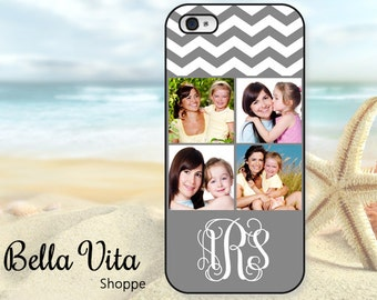 Monogrammed Photo iPhone 5 Case, Your Pictures Chevron Personalized Photo, iPhone 5S Case