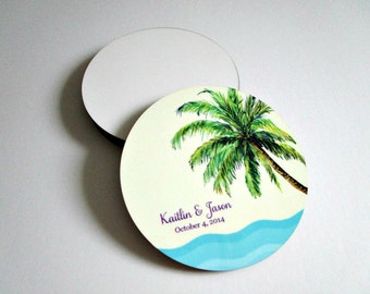 Beach Wedding Coasters - Tropical Coaster Set - Personalized Wedding Gift - Drink Coasters - Beach Wedding Decor, Favors - Bridal Shower