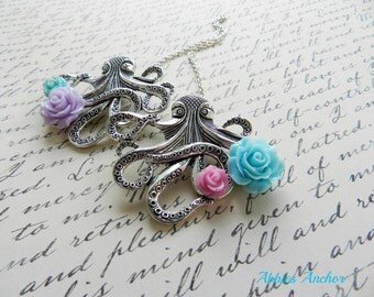 Octopus Sweater Guard Brooch with Pastel Roses