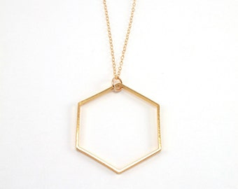 Hexagon Necklace, Large Gold Hexagon Pendant, Long Necklace, Gold Necklace, Honeycomb Necklace