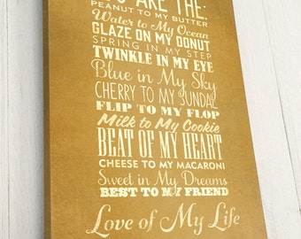 Personalized, Engagement Gift, Canvas Art, You are the..., Peanut to My Butter, Vintage Inspired, Premium Canvas