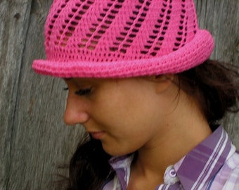 Crocheted Summer Hat, Pink color,Hand Crocheted Hat Womens Hat - Cloche Hat , sun hat, woman hat