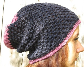 BLACK FRIDAY SALE! Ready to ship! Crochet winter hat, Hand Crochet Hat Womens Hat - slouchy Hat dark blue with purple edge, women hat