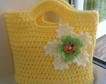 Crochet tote, crochet bag, crochet purse, PDF crochet pattern tutorial, quick to make, easy pattern, gift idea, bright summer colours