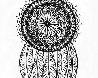 Dreamcatcher 8.5x11 ink drawing, card-stock print
