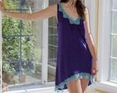 Purple Aqua Mini Dress in soft purple jersey short front long back with handdyed aqua/turquoise lace