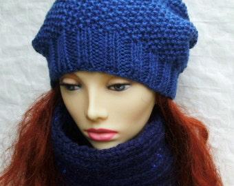ROXANNE Womans Slouch Hat in Denim Blue/ Back to School Beanie/ Fall fashion Hat Tam