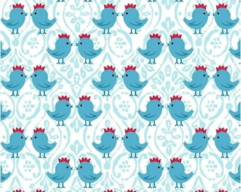 SUPER CLEARANCE!  - One Yard Two By Two - Chicks in Blue Cotton Quilt Fabric - by Whistler Studios  - Windham Fabrics (W456)