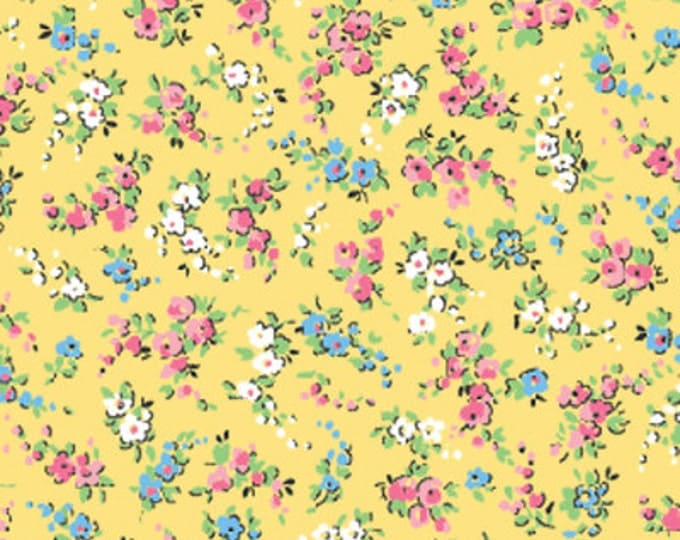"""23"""" REMNANT Sweet Shoppe (Calicos Candies) - Petite Nosegays in Yellow - Cotton Quilt Fabric - Michele D'Amore for Benartex Fabrics (W1530)"""