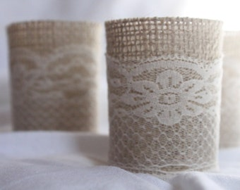 25 Votive Holders with Burlap and Ivory Lace