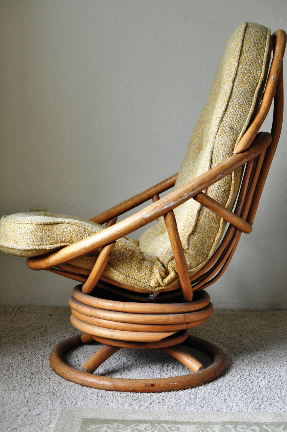 Salevintage Rattan Swivel Rocking Chair Tall Vintage By