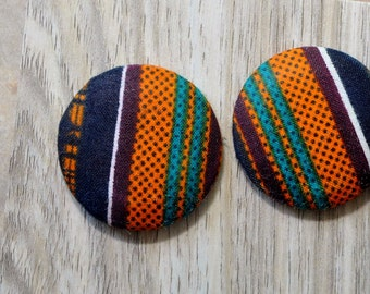 Afrocentric Jewelry Fabric Button Earrings Ethnic Earrings Kente Cloth Earrings, Fabric Earrings, African Earrings Large Button Earrings