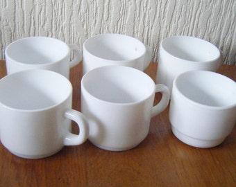 Six Arcopal Pyrex France White Mugs/Cups