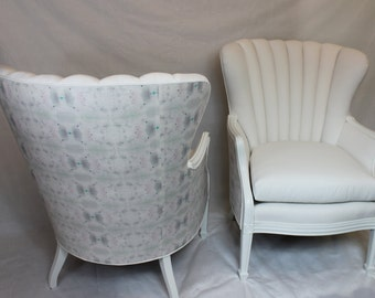 SOLD-CAN REPLICATE Pair of Channel Back Chairs in White