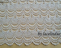 Antique Cotton Fabric Beige Embroidered Lace Fabric Vintage Costume Fabric Supplies By The Yard