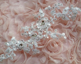 Bridal Beaded Applique in Ivory with Sequins for Weddings, Sashes, Veils, Headpieces