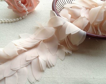 2 Yards Chiffon Lace Trim, Ivory Leaf Design Trim, 3D Chiffon Lace, Costume Design