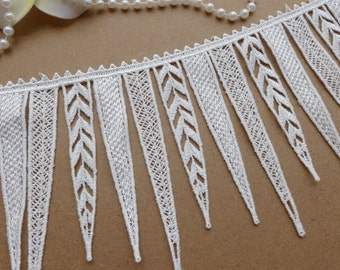 Fabulous Venice Lace Trim in White with Tassels for Jewelry, Weddings, Tassels Necklace, Home Decor