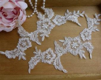 Bridal Alencon Lace Applique in Ivory with silver thread for Weddings, Bridal Veils, Headpiece, Hair Flower, Applique