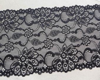 """BLACK Floral Stretch Lace 8.07"""" wide for Lingerie, Bustier, Headbands, Black Gloves, 2 Yards"""