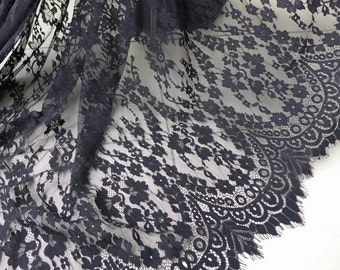 Black Chantilly Lace Fabric, Romantic Floral Scalloped Fabric, Elegant Wedding Gown Lace Fabric, Black Lace Dress Fabric by the yard