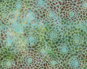 Aqua Packed Sunflower Batik 1yd