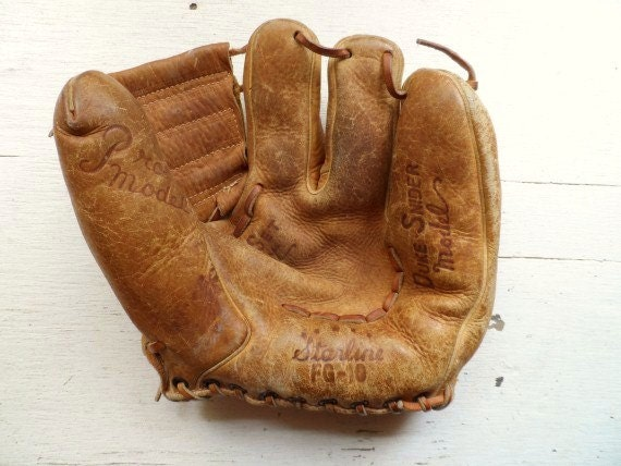 1950 39 s duke snider 3 finger ball glove baseball glove. Black Bedroom Furniture Sets. Home Design Ideas
