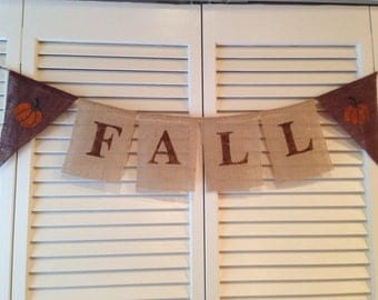 Fall Thanksgiving Burlap Banner Pumpkins