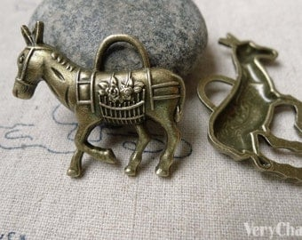 10 pcs of Antique Bronze Horse Charms 28x33mm A6753