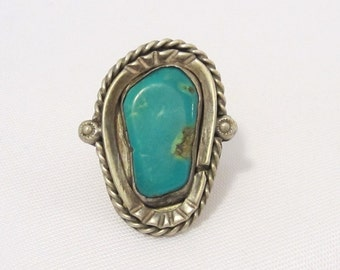 Antique Old Pawn Sterling Silver Genuine Turquoise Ring Size 7
