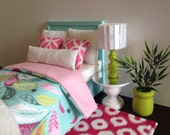 "Light Aqua doll bed with aqua/pink pattern blanket blanket, 1:6 scale furniture, 12"" dolls Fits 2 dolls"