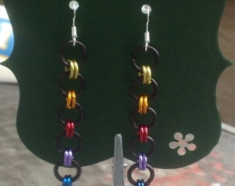 Simple rainbow chainmaille earrings