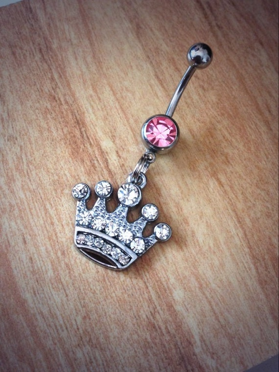 Rhinestone Crown Belly Ring queen belly ring princess rhinestone girly belly ring crown naval ring princess naval ring diamonds