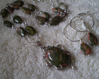 Unakite (Natural) Antique Silver Necklace & Earrings Set