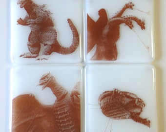 Godzilla Glass Coasters King Ghidorah Rodan Gamera King of the Monsters Japanese Monster Movies