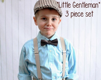 Boy's Vintage Wedding 3 Piece set - Brown Tweed Newsboy Hat plus suspenders and Bow Tie (your choice) Fits boys 3-7 years old