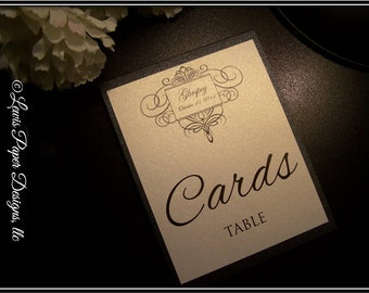 Personalized Monogram Card table tent -Wedding Table Cards - Cards Table Tent