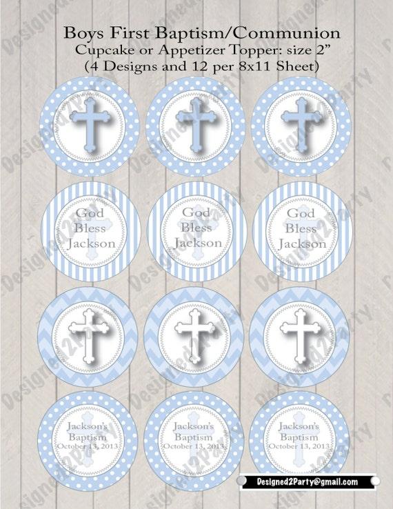 DIY Boys first communion printable or Baptism Cupcake topper