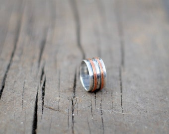 Silver and Copper Band Ring
