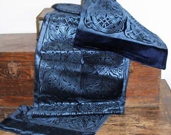 Rich Blue Iridescent Velvet Celtic Embossed Wrap