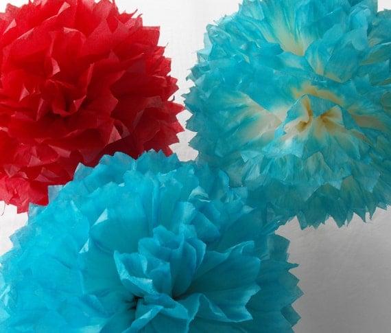 3 Tiff Blue & Red Wedding Pompoms, Red and Aqua Tissue Paper Pom poms,  Red Aqua Marine, Nursery Decor