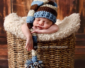 Baby Hat Baby Boy Country Blue long tail elf hat with pompom Crochet elf hat Baby Hat