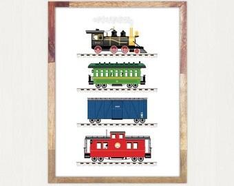 Train Print Art for Boys Room 11 x 14 or 12 x 16