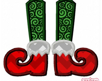 Christmas Elf Legs with Swirls Digital Applique Design Instant Download