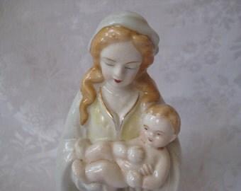 Virgin Mary and baby Jesus figurine, Mother Mary,  planter, religious decor,  catholic, alter decor